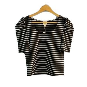 Ronny Kobo Puff Sleeve Striped Top
